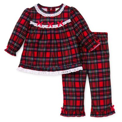 Carter's® 18M 2-Piece Christmas Plaid Ruffle Pajama Set in Red