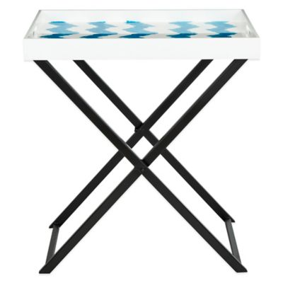 Blue White Tray Table