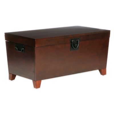 Southern Enterprises Pyramid Trunk Cocktail Table in Oak