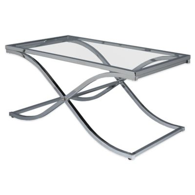 Southern Enterprises Vogue Cocktail Table in Chrome