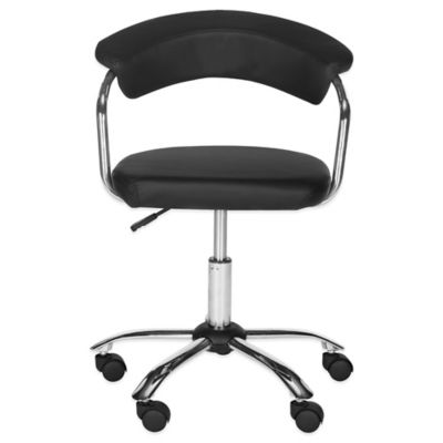 Safavieh Pier Synthetic Leather Desk Chair in Black