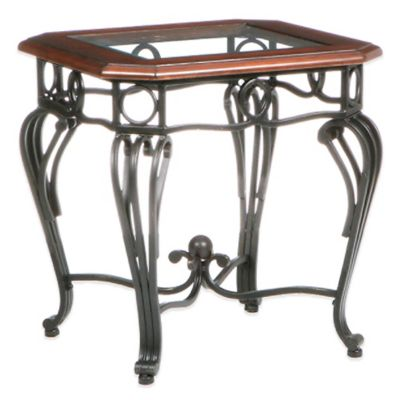Southern Enterprises Prentice End Table in Dark Cherry