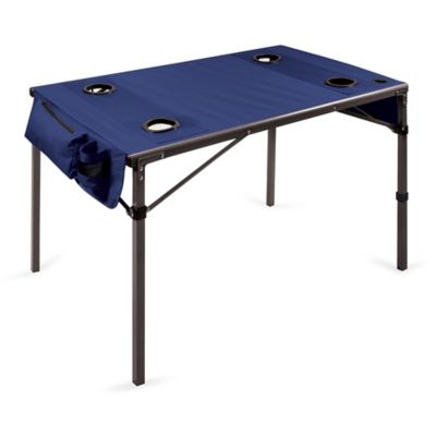 Picnic Time® Travel Table in Navy/Gunmetal Grey