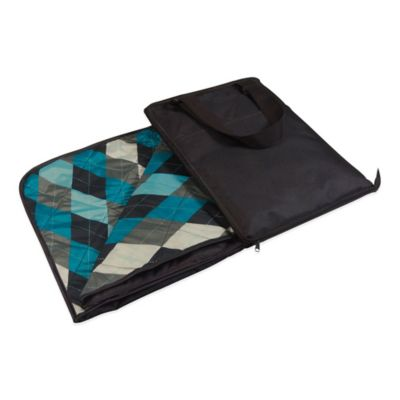 Picnic Time® Vista Blanket Tote in Black with Argyle Print
