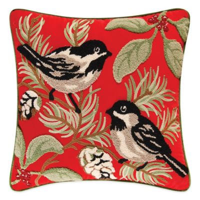 Chickadee and Holly Pines Holiday Tufted Square Throw Pillow