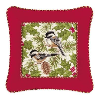 Chickadee and Holly Pines Holiday Hand-Stitched Needlepoint Square Throw Pillow