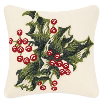 Chickadee and Holly Pines Holiday Hand Hooked Square Throw Pillow