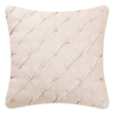 Chickadee and Holly Pines Holiday Diamond Tuck Square Throw Pillow
