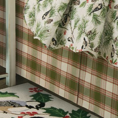 Chickadee and Holly Pines Holiday King Bed Skirt