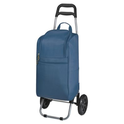 Picnic Time® Cart Cooler with Trolley in Navy