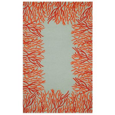 Trans-Ocean Spello Coral Border 8-Foot 3-Inch x 11-Foot 6-Inch Indoor/Outdoor Area Rug in Aqua