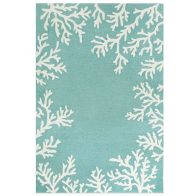 Trans-Ocean Capri Coral Border 5-Foot x 7-Foot Indoor/Outdoor Rug in Aqua