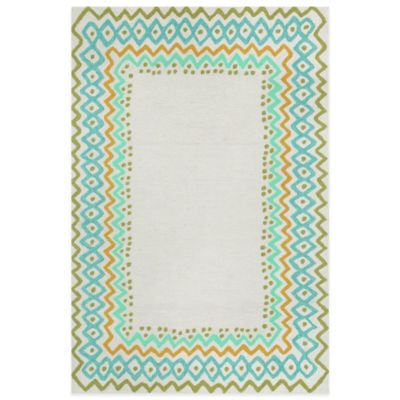 Trans-Ocean Capri Ethnic Border 2-Foot x 3-Foot Indoor/Outdoor Rug in Blue