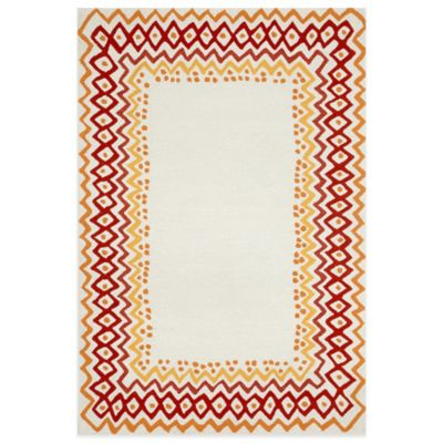 Trans-Ocean Capri Ethnic Border 5-Foot x 7-Foot Rug in Red