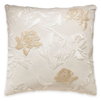 Beekman 1802 Minetto Floral Square Throw Pillow in Moonbeam