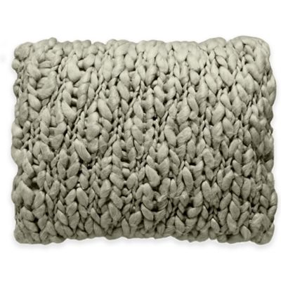 Beekman 1802 Minetto Chunky Knitted Oblong Throw Pillow in Blue