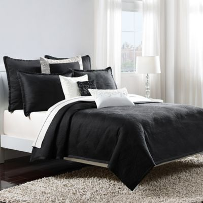 Catherine Malandrino Optic Full/Queen Coverlet in Black/Ivory