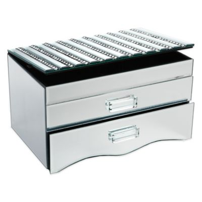 Allure by Jay Striped Lid Mirror Jewelry Box