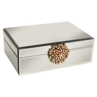 Allure by Jay Glass Jewelry Box with Brooch in Silver