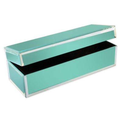Allure by Jay Rectangle Glass Jewelry Box in Teal