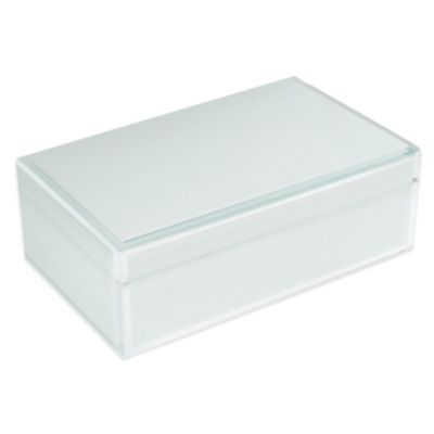 Jay Rectangle Glass Jewelry Box in White