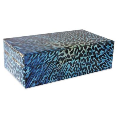 Allure by Jay Leopard Rectangle Glass Jewelry Box in Blue/Black