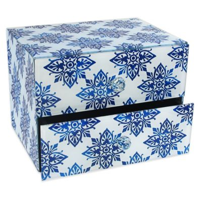 Allure by Jay Swirls 2-Drawer Glass Jewelry Box in White/Blue