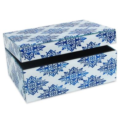 Allure by Jay Diamond Medallion Rectangle Glass Jewelry Box in White/Blue