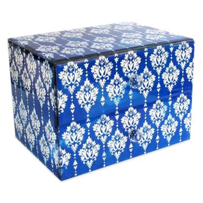 Allure by Jay Chandelier 2-Drawer Glass Jewelry Box in Blue/White