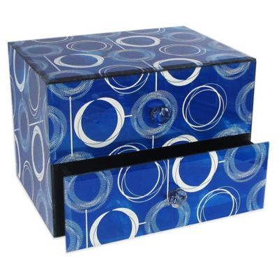 Allure by Jay Circles 2-Drawer Glass Jewelry Box in Blue