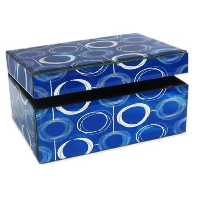 Allure by Jay Circles Rectangle Glass Jewelry Box in Blue
