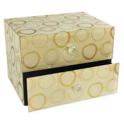 Allure by Jay Circles 2-Drawer Glass Jewelry Box in Gold