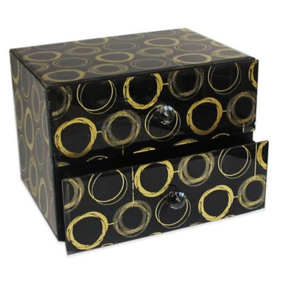 Allure by Jay Circles 2-Drawer Glass Jewelry Box in Black/Gold
