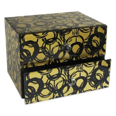 Allure by Jay Circles 2-Drawer Glass Jewelry Box in Gold/Black