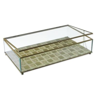 Allure by Jay Tiles Print Glass Jewelry Box in Gold