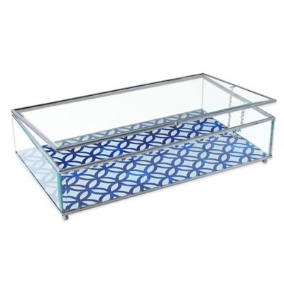Allure by Jay Circles Print Glass Jewelry Display Box in Blue