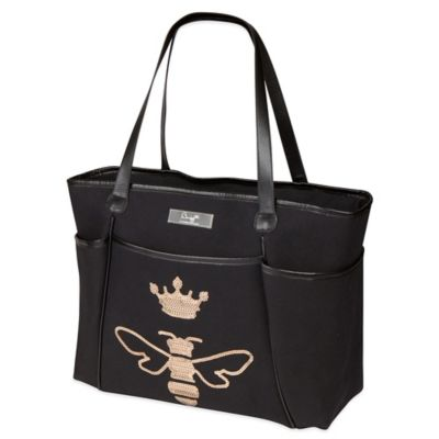 The Bumble Collection® Queen Bee Sequin Zipper Tote in Black/Gold