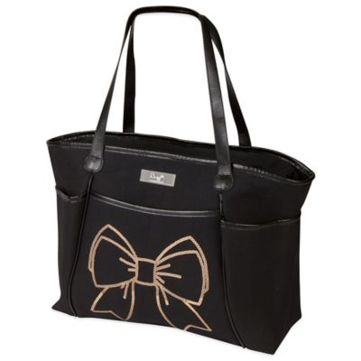 The Bumble Collection® Bow Sequin Zipper Tote in Black/Gold