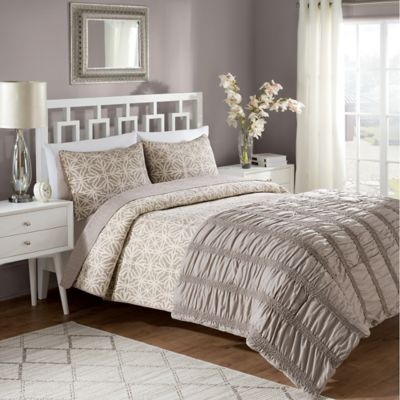 Crest Home Bettina Reversible King Comforter/Quilt Set in Taupe