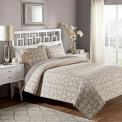 Crest home bettina reversible quilt set in taupe bed for Crest home designs bedding