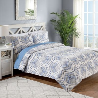 Crest Home Sanibel Reversible Twin Quilt Set in Blue