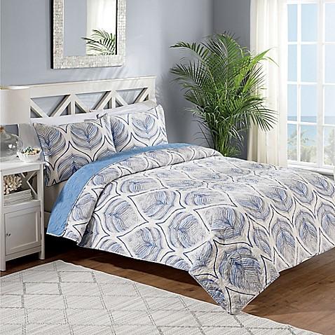 Crest home sanibel reversible quilt set in blue bed bath for Crest home designs bedding