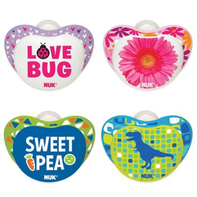 "NUK® Small Talk ""Sweet Pea"" and Dinosaur 0-6M 4-Pack Orthodontic Pacifiers"
