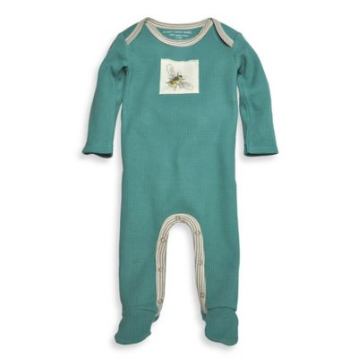 Burt's Bees Baby® Size 6M Organic Cotton Thermal Footed Coverall in Teal