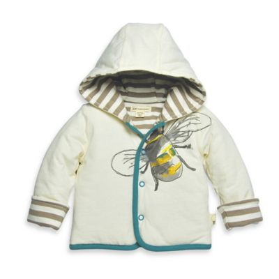 Burt's Bees Baby® Newborn Organic Cotton Reversible Bee Quilted Jacket in Ivory/Brown