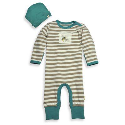 Burt's Bees Baby® Size 9M 2-Piece Organic Cotton Bee/Stripe Coverall and Hat Set in Brown/Teal