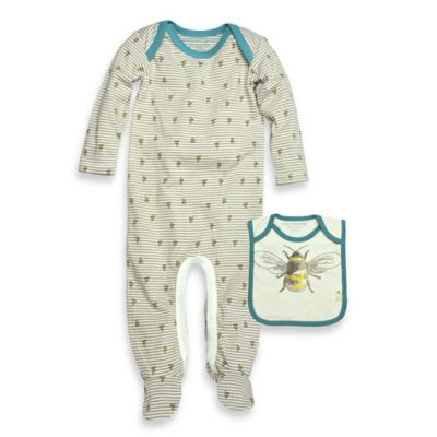 Burt's Bee's Baby™ Newborn 2-Piece Micro-Stripe Bee Footie and Bib Set