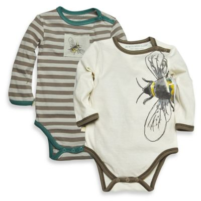 Burt's Bees Baby® Size 9M 2-Pack Long Sleeve Bee/Stripe Organic Cotton Bodysuits in Beige