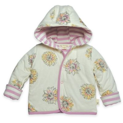 Burt's Bees Baby® Newborn Organic Cotton Reversible Sunflower Quilted Jacket in Yellow/Pink