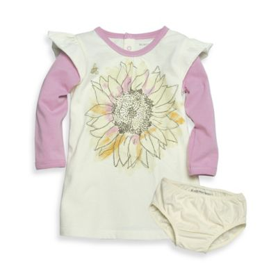 Burt's Bee's Baby™ Newborn 2-Piece Organic Cotton Sunflower Dress and Diaper Cover Set